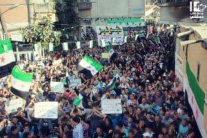 Große Demonstration in Jobar, Damaskus gegen das Assad-Regime