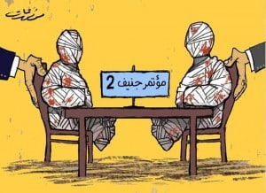 International powers push the government and opposition to sit at the negotiation table after being bloodied by the conflict. Cartoon by artist Muaffaq Qat. Credit: Facebook.