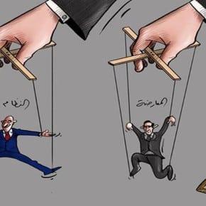 Ein Cartoon des syrischen Künstlers Kamiran Shamdin verspottet Genf II. Das Schild weist den Weg nach Genf II, die Handpuppen folgen, rechts die Opposition, links das Regime. Quelle: Facebookseite des Künstlers/Syria Untold.