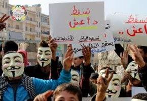 """""""Möge Da3ech stürzen!"""" - Schilder in Achrafieh, Aleppo, 03.01.2014."""