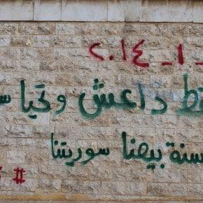 """""""Möge Da3ch stürzen, es lebe Syrien."""" - Achrafieh, Aleppo, 01.01.2014."""