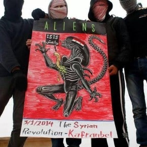 Das Regime gebärt ein neues Monster, ISIS. - Plakat aus Kafranbel, 03.01.2014.