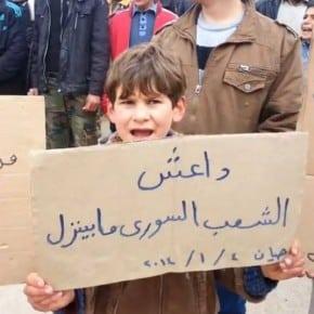 """""""Da3ech, das syrische Volk lässt sich nicht erniedrigen"""" - Protest gegen ISIS in Hayan, 04.01.2014."""