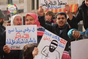 Friedliche Proteste gegen die Unterdrückung durch Dschihadisten