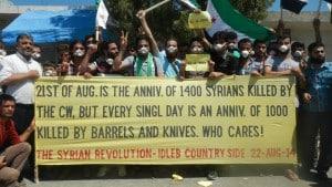 Aktion zum Jahrestag des Chemiewaffenangriffs vom 21. August 2013.
