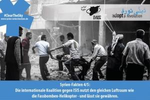 Fassbomben-Helikopter und internationale Allianz gegen ISIS teilen sich einen Luftraum.