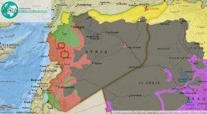 Lage der Ziele russischer Luftangriffe in Syrien. Gebiete unter ISIS-Kontrolle sind schwarz dargestellt.