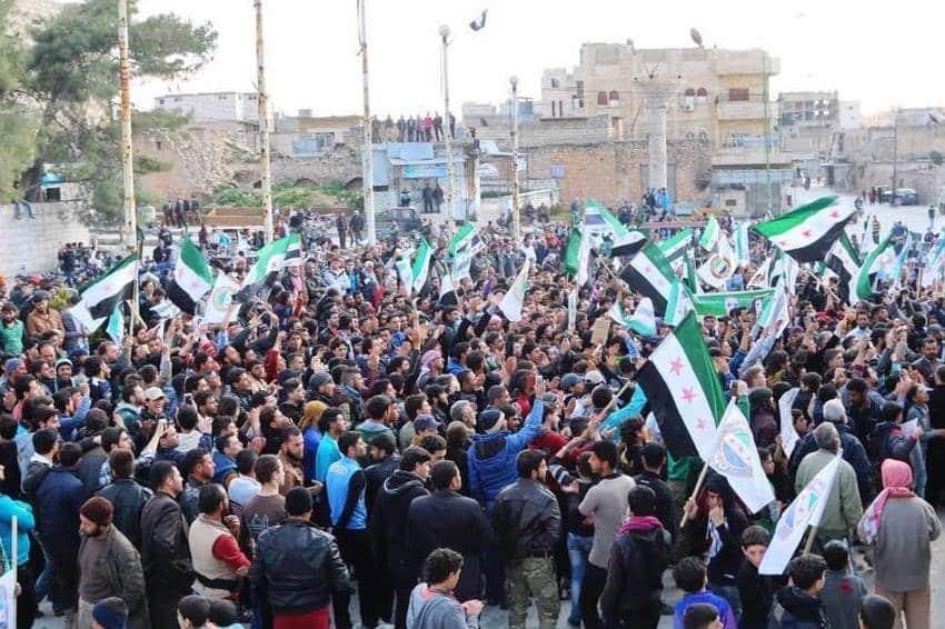 Proteste in Maarat an-Numan während der Waffenruhe im März 2016. Foto: Maarat an-Numan Medienzentrum