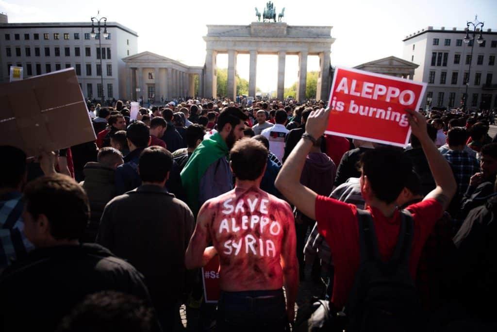 Von syrischen AktivistInnen organisierter Protest in Berlin. Foto: jib-collective