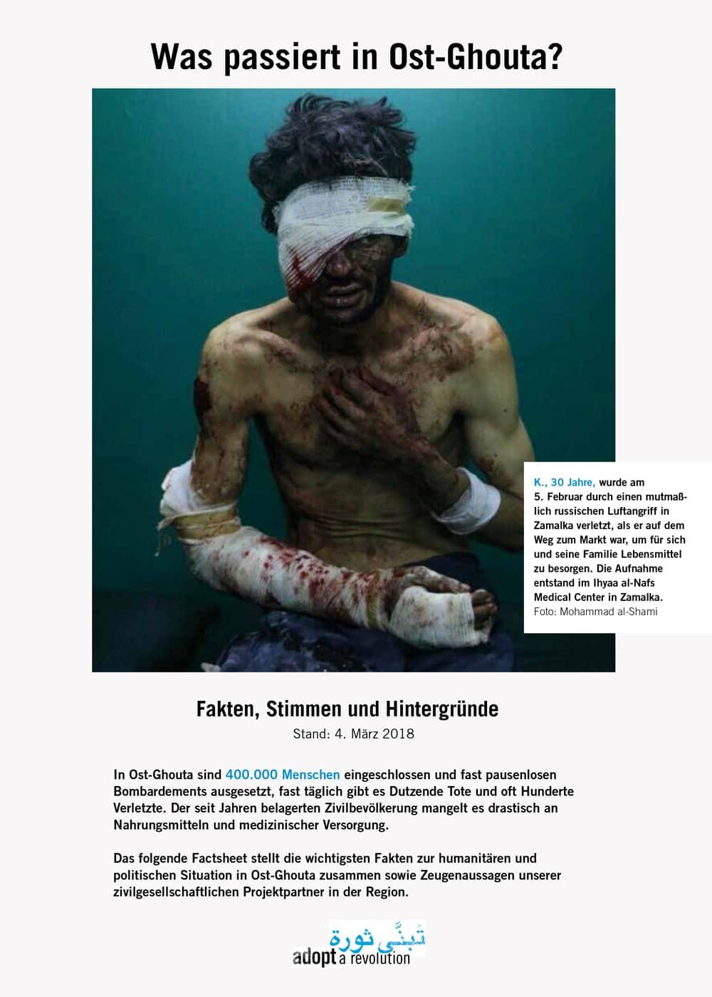 K., 30 Jahre, wurde am 5. Februar 2018 durch einen mutmaßlich russischen Luftangriff verletzt, als er auf dem Weg zum Markt war, um für sich und seine Familie Lebensmittel zu besorgen. Die Aufnahe entstand im Ihyaa al-Nafs Medical Center in Zamalka. Foto: Mohammad al-Shami