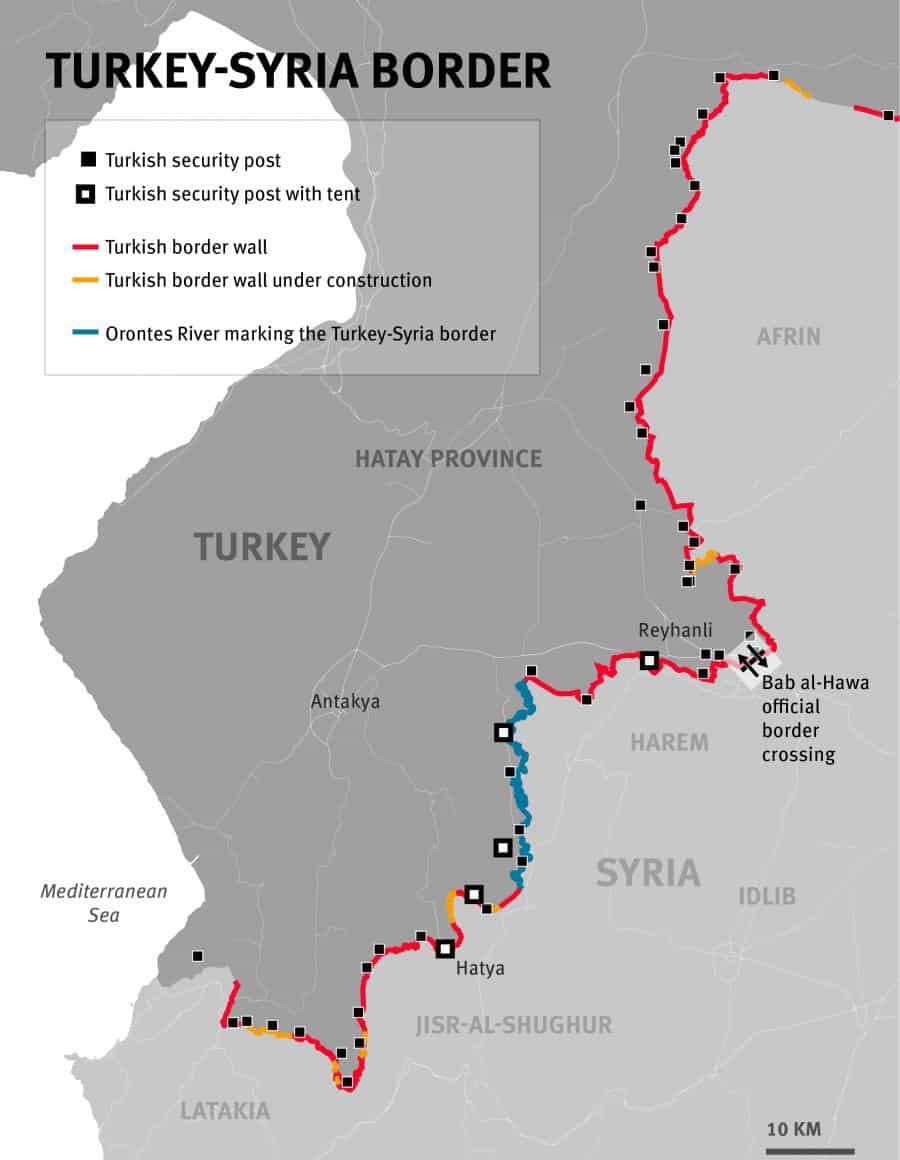 Karte der syrischen Grenze